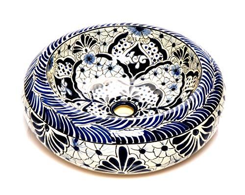 Allegria - Weißes rundes mexikanisches Keramikbecken – Mexikanische Rund Aufsatzwaschbecken | 40 cm Keramik Talavera Waschbecken aus Mexiko | Buntes motiven | Ideal badezimmer zementfliesen