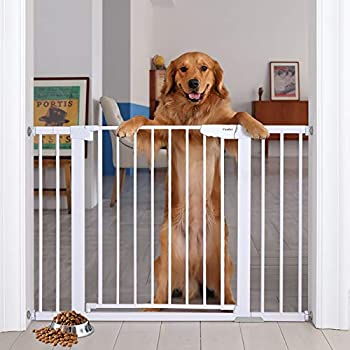 """Cumbor 46"""" Auto Close Safety Baby Gate Extra Tall and Wide Child Gate Easy Walk Thru Durability Dog Gate for The House Stairs Doorways Includes 4 Wall Cups 2.75-Inch and 8.25-Inch Extension"""