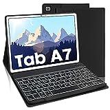 AVNICUD Beleuchtete Tastatur Hülle für Samsung Galaxy Tab A7 10.4 Zoll 2020, Bluetooth Abnehmbarer Keyboard Deutsches QWERTZ mit Schützhülle, 7 Farbige Hintergr&beleuchtung, Schwarz