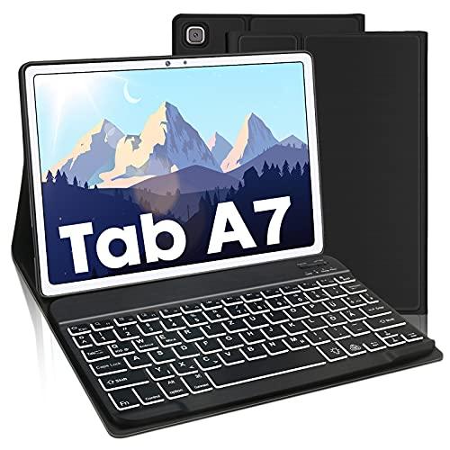 AVNICUD Beleuchtete Tastatur Hülle für Samsung Galaxy Tab A7 10.4 Zoll 2020, Bluetooth Abnehmbarer Keyboard Deutsches QWERTZ mit Schützhülle, 7 Farbige Hintergrundbeleuchtung, Schwarz