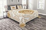 ABAKUHAUS Blumen Tagesdecke Set, Rose Röschen, Set mit Kissenbezügen Waschbar, für Doppelbetten 220 x 220 cm, Beige Braun