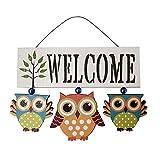 Wyi - Cartello di benvenuto in legno con gufi per porta d'ingresso e porta di benvenuto in legno con gufi, cartello di benvenuto creativo da appendere per veranda, giardino, decorazione per la casa