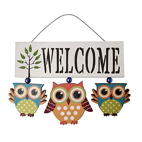 Cozyhoma - Cartello di benvenuto in legno da appendere alla porta di benvenuto, per veranda, patio e porta d'ingresso, decorazione per casa, giardino, decorazione da parete