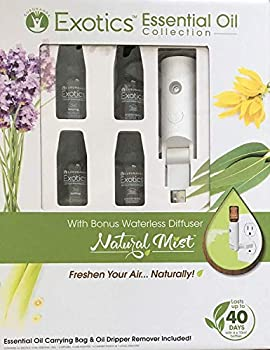 World s First Water-less Plugin - Natural Mist Gift Set- Natural Essential Oil Diffuser - Aromatherapy Air Freshener- Includes Lavender Lemongrass Peaceful Sleep and Energy Blend  Gift Set White
