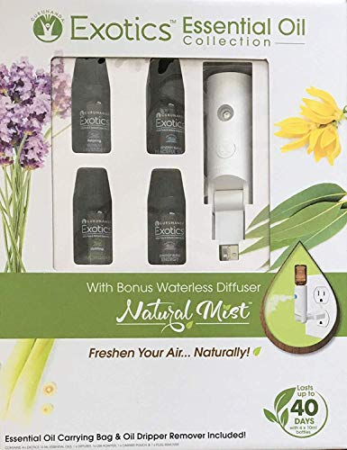 Worlds First Water-less Plugin - Natural Mist Gift Set- Natural Essential Oil Diffuser - Aromatherapy Air Freshener- Includes Lavender, Lemongrass, Peaceful Sleep and Energy Blend (Gift Set, White)