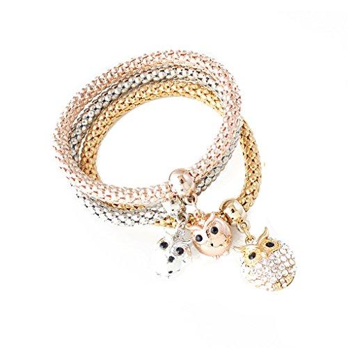 Befaith 3pcs / set sveglie di cristallo gufo Bracciali e braccialetti dei braccialetti per i monili delle donne elastica NO.1