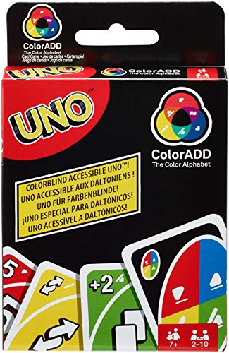 Mattel Games GDP08 UNO ColorAD kaartspel met kleursymbolen, geschikt voor 2-10 spelers en kleurblinden, speelduur ca. 15 minuten, vanaf 7 jaar.