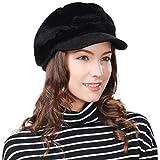 FancetHat Damen weiche Ballonmütze Newsboy Cap warme schirmmütze 56-59cm Schwarz