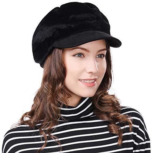 FancetHat FancetHat Damen weiche Ballonmütze Newsboy Cap warme schirmmütze 56-59cm Schwarz