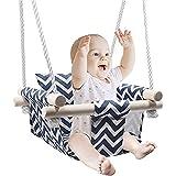 ADLOASHLOU Asiento de Columpio para Bebé, Columpio de Madera para Bebé con Cojín y Cuerdas de PE, Silla Hamaca para Bebé para Interiores y Exteriores para Niños Pequeños y Bebés