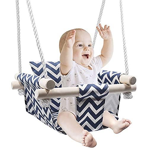 CHIFAN Silla de Columpio de Lona de algodón para bebé, Columpio Colgante, Asiento de Madera de Juguete para bebés de Interior y Exterior con cojín para decoración de habitación de bebé