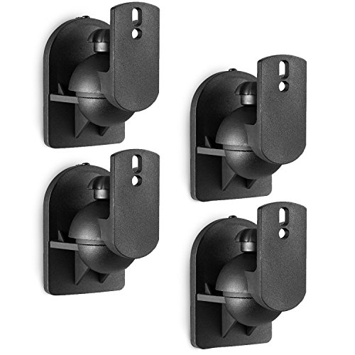 WALI Speaker Wall Mount Brackets Multiple Adjustments for Bookshelf, Surrounding Sound Speakers, Hold up to 7.7 lbs, (SWM402), 4 Pack, Black