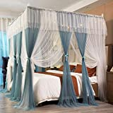 Joyreap 4 Corners Post Canopy Bed Curtains for Girls - Blue & White Cozy Drape Netting - 4 Openings Mosquito Net - Cute Princess Bedroom Decoration Accessories (59' W x 78' L, Full/Queen)