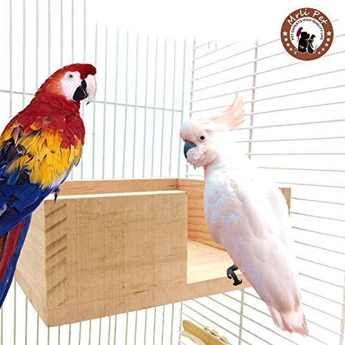 Mrli Pet Bird Cage Platform Wood Perch Stand Corner Desk
