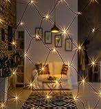 AMARE Außenlichternetz 160 LED warmweiß 320 x 150 cm (zzgl. 10 m Zuleitung), CE + GS geprüft, für den Innen- und Außenbereich, 8 Leuchtmodi/Timer