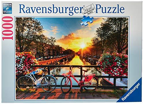Ravensburger Bicicletas en Amsterdam - Puzzle Fotos y paisajes, Premium Puzzle con tecnología Softclick, 1000 piezas, para adultos (196067)