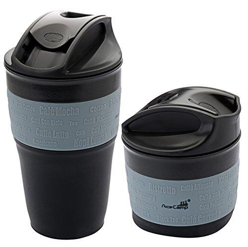 AceCamp Faltbarer Kaffeebecher Coffee to go Becher wiederverwendbar komprimierbar auslaufsicher mit Deckel, 355ml, 1539