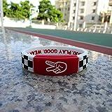ZJZ AMZ Streetball Professor Tarten Deuce Braccialetto Sportivo di Alta qualità Braccialetto da Polso Borse Gioielli Star Sport Nastro Decorativo (Color : Black And White Lattice Red)