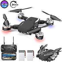 3T6B Drone avec Camera,1080P HD 4K Pixels, Quadricoptère de Vol Portable de 20-24 Minutes, équipé de 5 Millions de Pixels HD, Rotatif à 360 °, FPV Distant, Photos au Geste-Cadeau de Noël (HJ28)