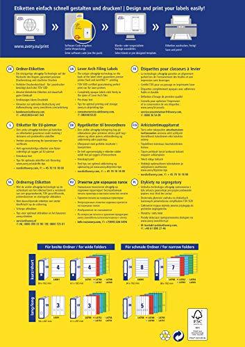 Avery Zweckform L4761-100 Ordnerrücken Etiketten (A4, 400 Rückenschilder, breit/kurz, selbstklebend, blickdicht, 61 x 192 mm) 100 Blatt weiß - 10