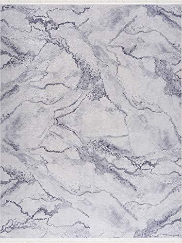 Siela Teppich Waschbar in der Waschmachine. Küchenläufer, Wohnzimmerteppich. Pflegeleicht, versch. Muster und Größen in Grau(80x150cm)