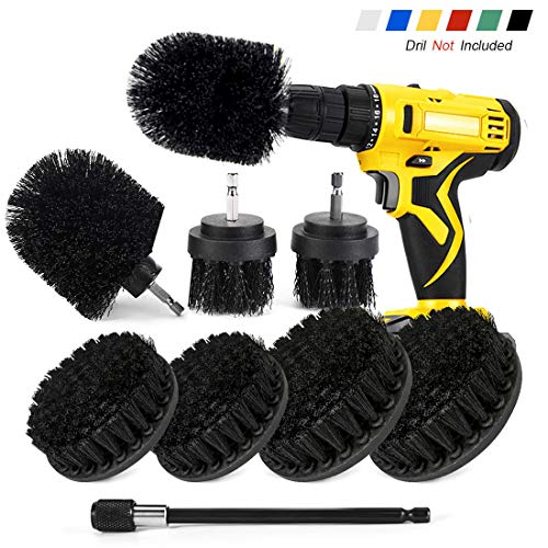 Shieldpro Drill Brush Attachment Set,Power Cleaning Scrub Brush,All Purpose Drill Brushes with Extend Long Attachment for Bathroom and Kitchen Surface,Grout,Tub,Shower,Tile,Corners, Automotive-Black