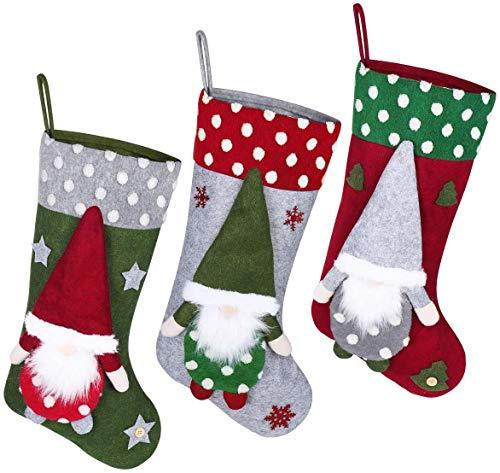 """Toyvian Weihnachtsstrumpf 3er-Set, 19,6 """"Große Weihnachtssocke Sack Baum Dekoration Kinder Erwachsene Weihnachtsverzierung Süßigkeiten Beutel Tasche Thema 3D Plüsch"""