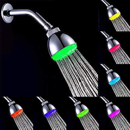 KANJJ-YU Montado en la pared de la ducha del baño de la cabeza de la ducha ABS colorido luminoso que cambia de color colorido de la parte superior de la ducha del spray montado en la pared