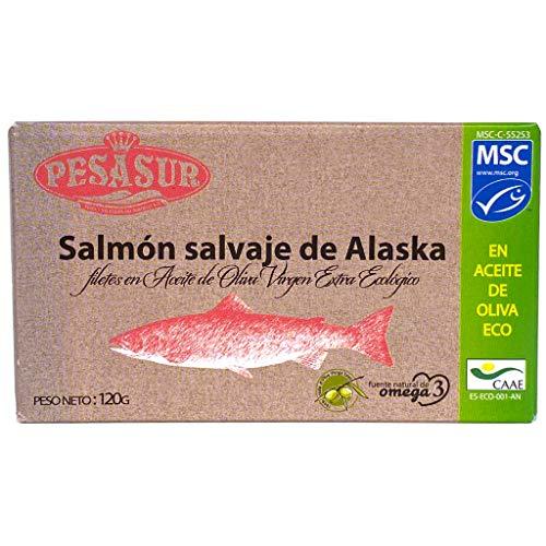 Soldimar Pesasur MSC Alaska Wild Salmon Fillets in Organic Extra Virgin Olive Oil 120g (Pack of 5)