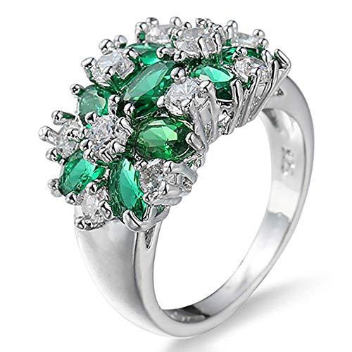 N/U PULABOWomen - Anillo de dedo para nudos, plata de ley 925, chapado en diamantes de imitación, elegante y popular