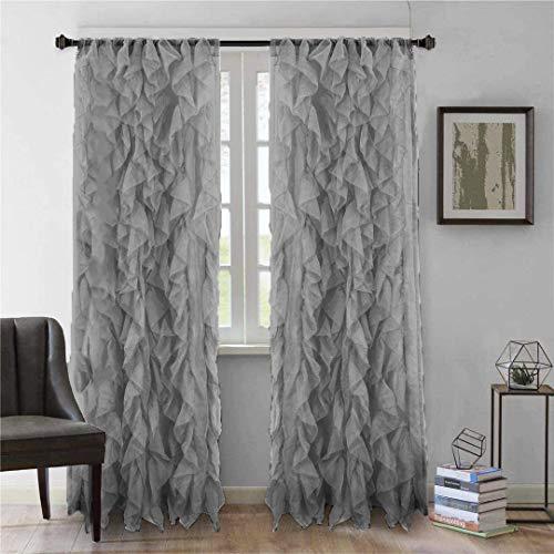 "Diamond Home 2pc Cascade Shabby Chic Sheer Ruffled Curtain Panel (Gray, 84"" L Panel Pair)"