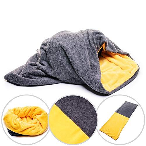 Hundedecke 3 in 1 XXL Fleece Hund Decke Schlafsack Kissen Bett Grau + Orange