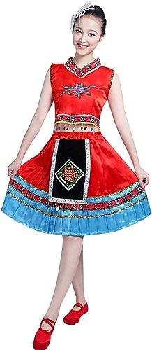 Jian E& Costume de Danse - Costumes de scène - Costumes de minorité Robe de scène carrée - Rouge