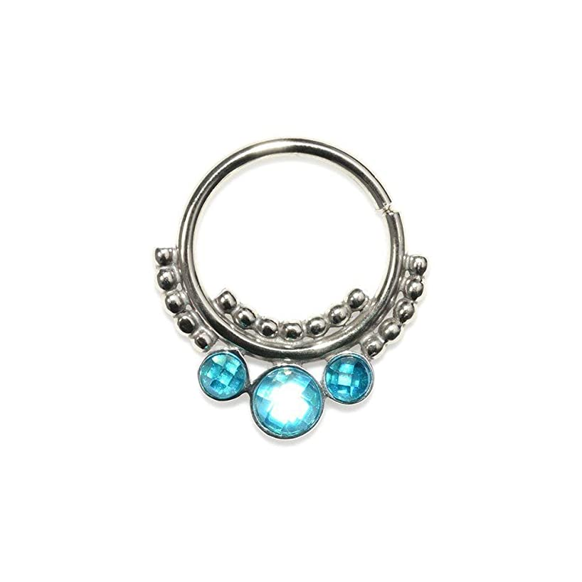 Silver Septum Piercing with Blue CZ 18g / Septum Ring, Nipple Ring