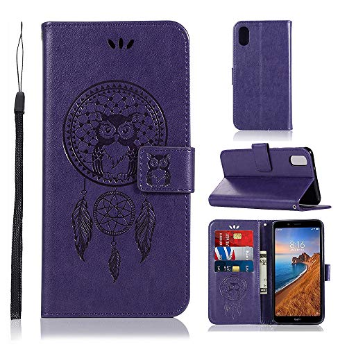 Zchen Xiaomi Redmi 7A Hülle, Kunstleder Portemonnaie Handy-Schutzhülle Book Flip Design Klapphülle Etui Tasche für Xiaomi Redmi 7A (Eule-Lila)