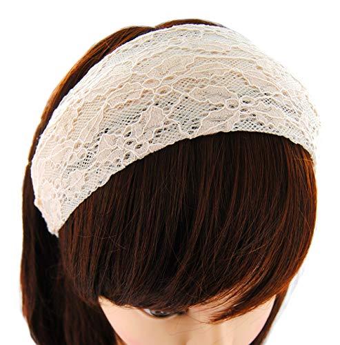 axy Breiter Haarreif aus wunderschöner Spitzenstoff Haarband Hairband Stirnband Lady Look HRST2 (Cream)