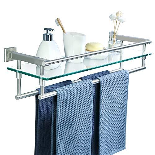 Sayayo Estante de vidrio templado de 8 mm extra grueso para baño con barra doble toallero montado en la pared de 58,4 cm, acero inoxidable SUS304, acabado cepillado, EGK9020-LS