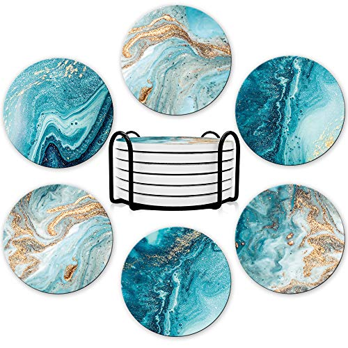Dooke Coasters for Drinks Round Absorbent Ceramic Stone Coasters Set of 6 with Cork Base Funny Drink Coasters with Holder for Cold Drinks Wine Mugs and Cups Tabletop Protection 4 InchesBlue Gold