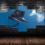 SGDJ Cuadro en Lienzo Pez Vela de pez Espada Submarino 150x80cm - XXL Impresión Material Tejido no Tejido Artística Imagen Gráfica Decoracion de Pared - 5 Piezas - Listo para Colgar