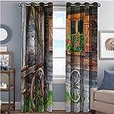 Cortina de color resistente al desgaste con flores en maceta ruedas Casa rural vista frontal 2 paneles W100 x L63 pulgadas marrón verde rojo