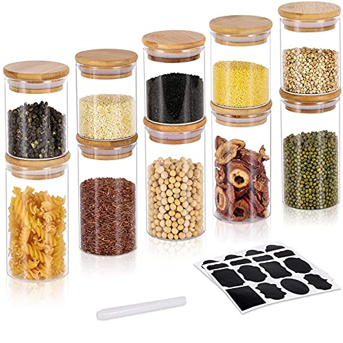 GoMaihe 250ML + 350ML Vorratsdosen 10er Set, Vorratsdosen Glas Gewürzgläser Luftdicht Glasbehälter aus Glasdose Mit Deckel Set, Vorratsdosenset Glas Aufbewahrung Küche Tee Gewürzgläser, MEHRWEG