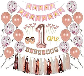 First Birthday Girl Decorations, 1st Smash Cake Fun Party Set, Rose Gold Pink Decor - One Topper, Confetti Balloons, Bday Bunting, I am One Banner, Tassels, Ribbon, Heart Sticks