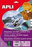 APLI 10603 Bianco CD/DVD etichetta per stampante