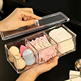 Sooyee Rectangle Cotton Ball and Swab Holder Organizer with Lid, Dustproof,Waterproof,Clea...