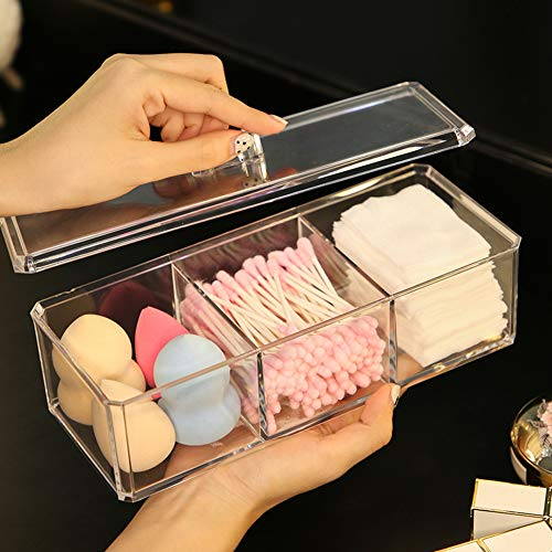 Sooyee Rectangle Cotton Ball and Swab Holder Organizer with Lid, Dustproof,Waterproof,Clear Acrylic 3 Compartment Cotton Pad Container for Cotton Swabs, Q-Tips, Make Up Pads, Cosmetics and More