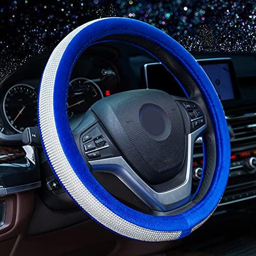 Alusbell Crystal Diamond Steering Wheel Cover Soft Velvet Feel Bling Steering...