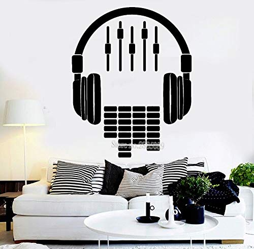 Tianpengyuanshuai Vinyl wall stickers earphone sound decals living room sofa music stickers background decoration kids room decals 80x64cm