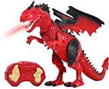 Remote Control Dinosaur Toys LED Light Up Walking Dragon Roaring and Spraying Smoke Realistic t rex Dinosaur Toys for Boys and Girls 3-12 Years