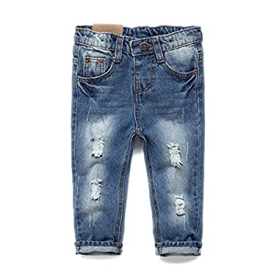 Kidscool Baby & Toddler Elastic Waist Ripped Holes Soft Jeans,Blue,2-3T