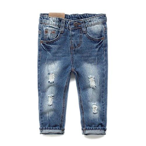 Kidscool Calça jeans macia para bebês e crianças com cintura elástica rasgada, Azul, 2-3T